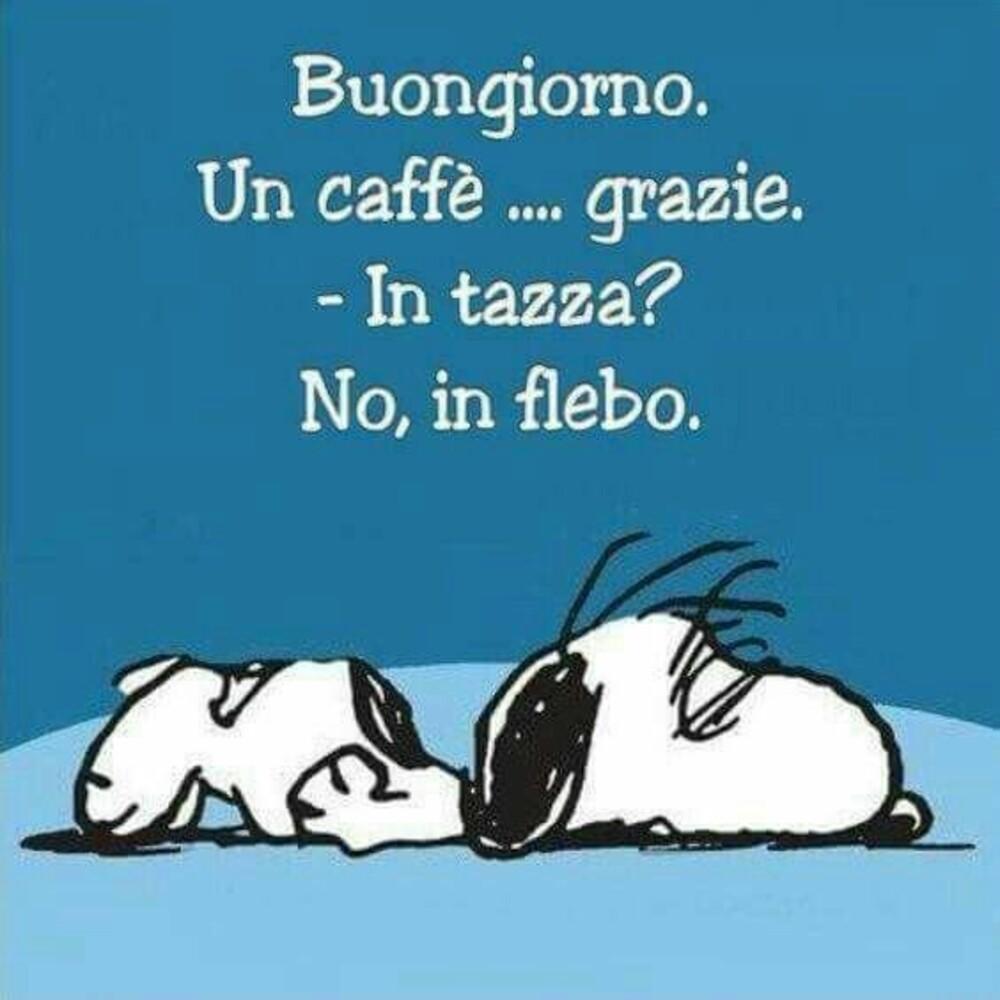 Buongiorno, un caffè...grazie. - In tazza? No, in flebo.