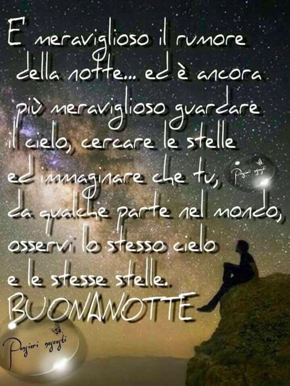 E' meraviglioso il rumore della notte...ed è ancora più meraviglioso guardare il cielo, cercare le stelle ed immaginare che tu, da qualche parte nel mondo, osservi lo stesso cielo e le stesse stelle. Buonanotte