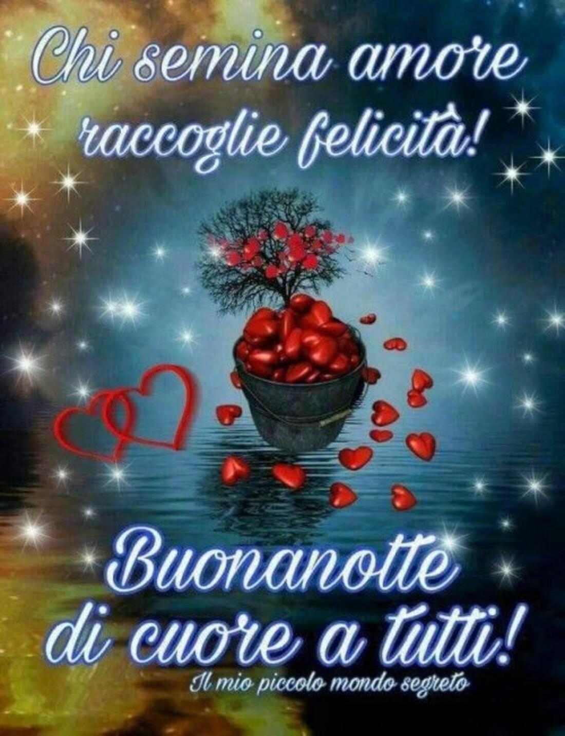 Chi semina amore raccoglie felicità! Buonanotte di cuore a tutti!