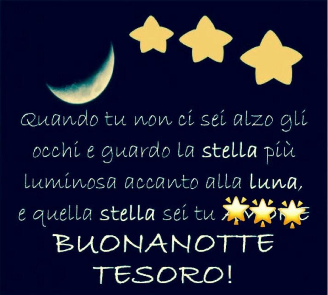 Quando tu non ci sei, alzo gli occhi e guardo la stella più luminosa accanto alla luna, e quella stella sei tu!! Buonanotte tesoro!