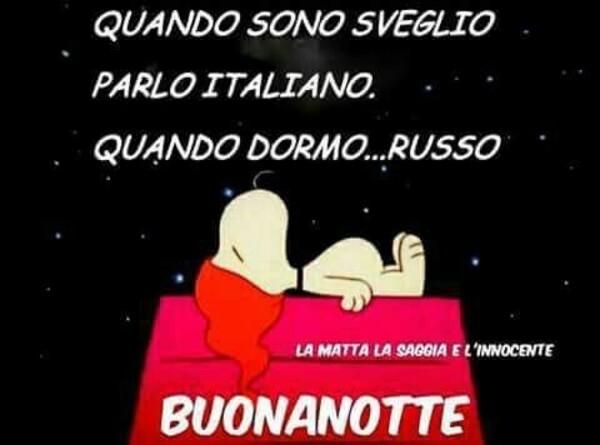 """""""Quando sono sveglio parlo italiano, quando dormo... RUSSO! Buonanotte"""" - immagini divertenti Snoopy"""""""